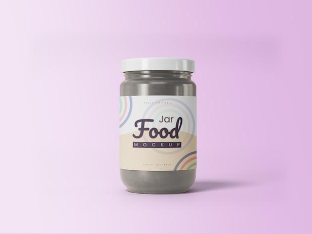 Barattolo di cibo mockup 3d modificabile per la presentazione del prodotto