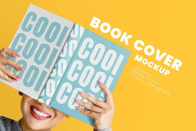 Pubblicità psd di mockup di copertina del libro modificabile