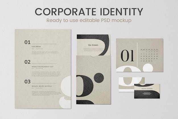 Psd di mockup di identità aziendale modificabile impostato per l'impresa aziendale