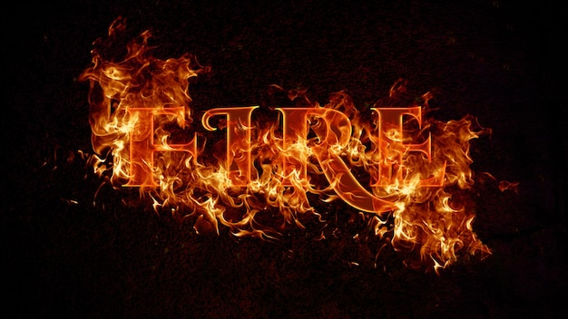 Modello psd con effetto testo fuoco modificabile