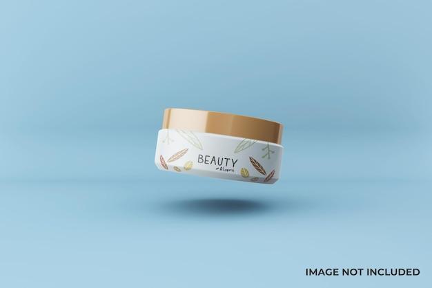 Design mockup di barattolo di crema per il viso cosmetico galleggiante modificabile