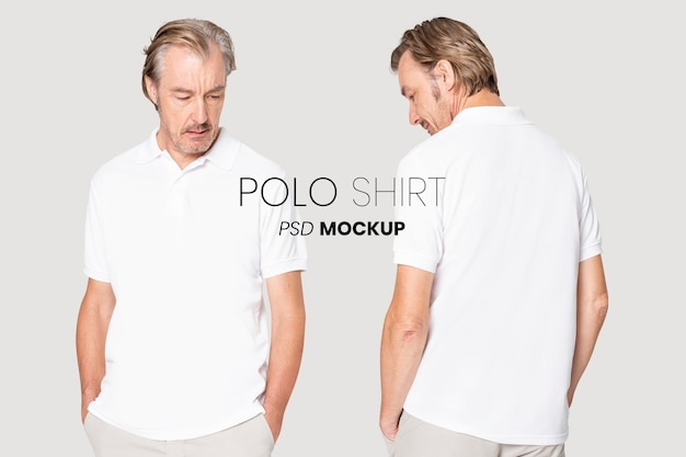 Mockup di polo maturo modificabile psd per annuncio di abbigliamento di base