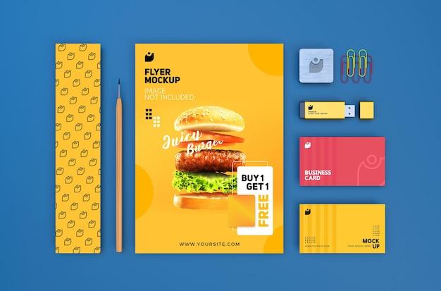 Mockup di cancelleria di branding moderno modificabile di alta qualità