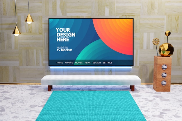 Mockup display televisivo moderno modificabile, schermo tv montato sulla parete di legno, interni di lusso