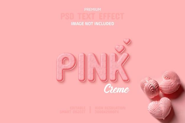 Modello di effetto testo modificabile rosa crema biscotto
