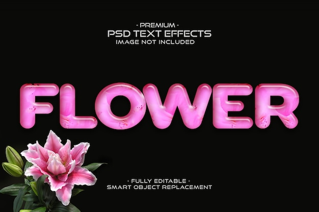 Effetto di testo fiore rosa modificabile