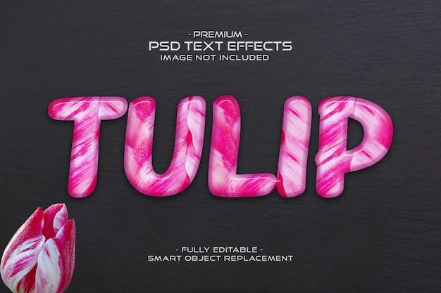 Modello editabile di effetto del testo del fiore del tulipano rosa