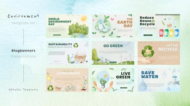 Modello di presentazione modificabile psd per la campagna di sensibilizzazione ambientale nel set di acquerelli