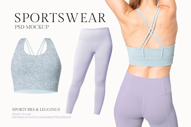 Modello di mockup psd di abbigliamento sportivo modificabile per annuncio di abbigliamento femminile