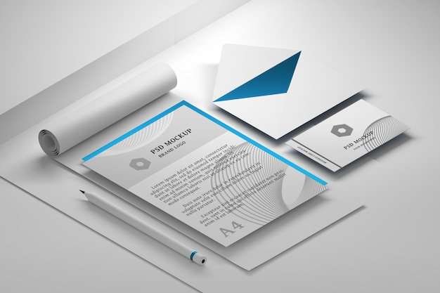 Mockup psd di cancelleria modificabile con raccolta di documenti cartacei per ufficio premium