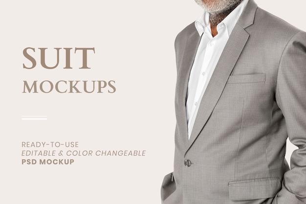 Modificabile vestito mockup psd per l'annuncio di abbigliamento da uomo d'affari