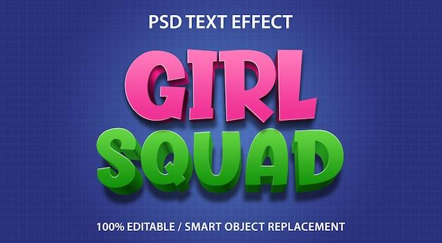 Squadra ragazza effetto testo modificabile