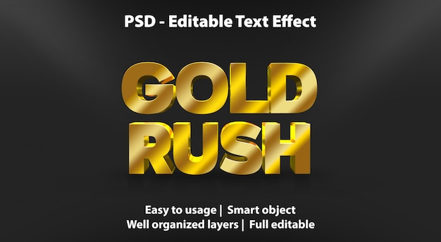 Testo modificabile effetto gold rush