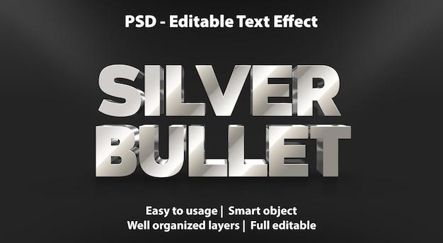 Pallottola d'argento di effetto di testo modificabile