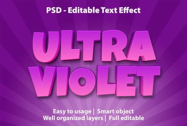 Effetto di testo modificabile ultra violet