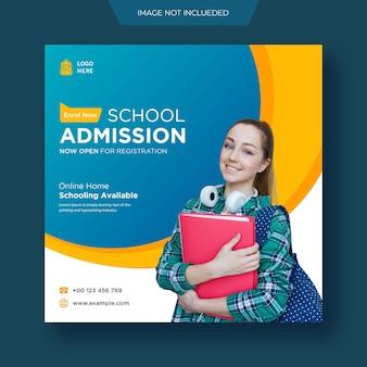 Modello di banner web per post e volantini sui social media per l'ammissione alla scuola di istruzione premium psd