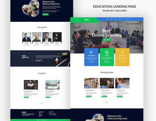 Modello di pagina del sito web di istruzione