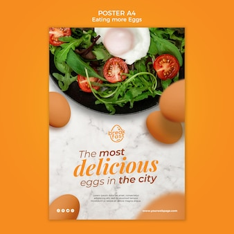 Modello di poster di uova e verdure