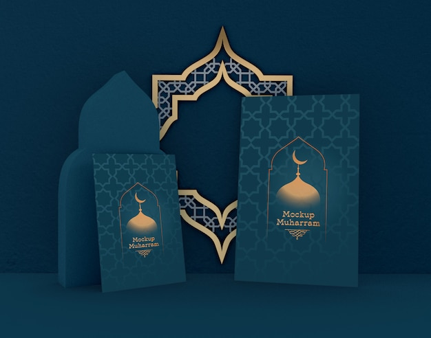 Eid mubarak, modello di biglietto d'auguri. festa islamica tradizionale.