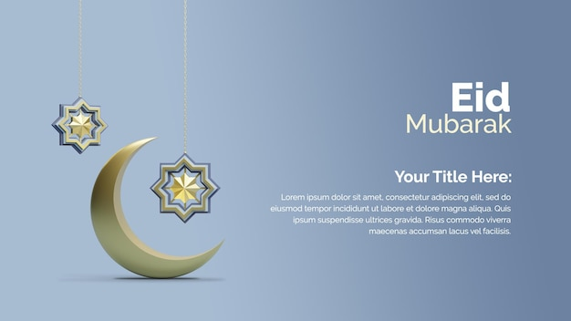 Poster di eid mubarak con strumenti nella progettazione di rendering 3d Psd Premium