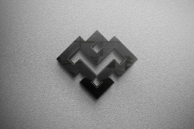 Elegante logo in vetro 3d mockup nel muro