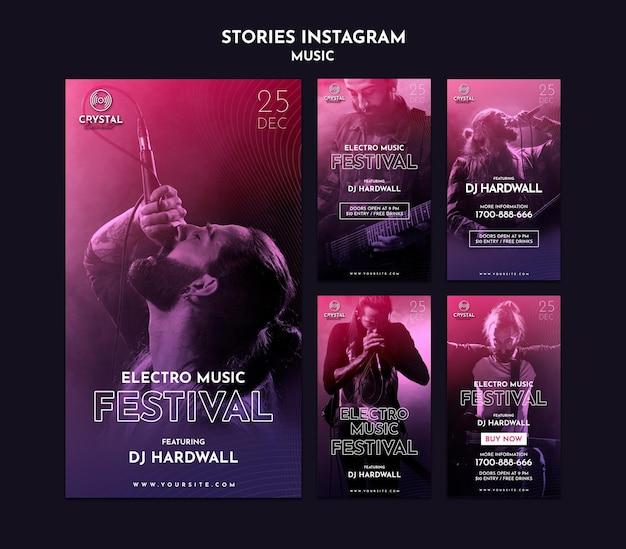 Storie di instagram del festival di musica elettronica Psd Premium