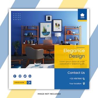 Modelli di post sui social media per mobili per la casa di eleganza