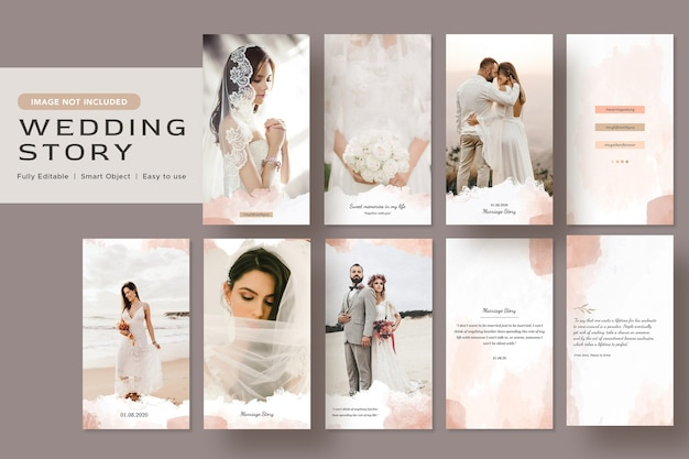 Eleganza minimalista acquerello matrimonio storia social media banner design instagram post template
