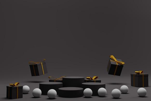 Elegante podio 3d per lo sfondo dell'esposizione di natale