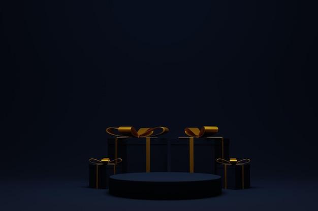 Elegante scena del podio 3d per lo sfondo di natale