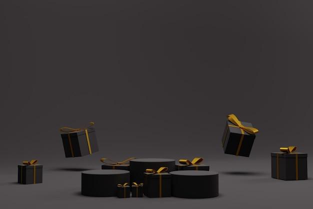 Elegante 3d render podio per lo sfondo del display di natale
