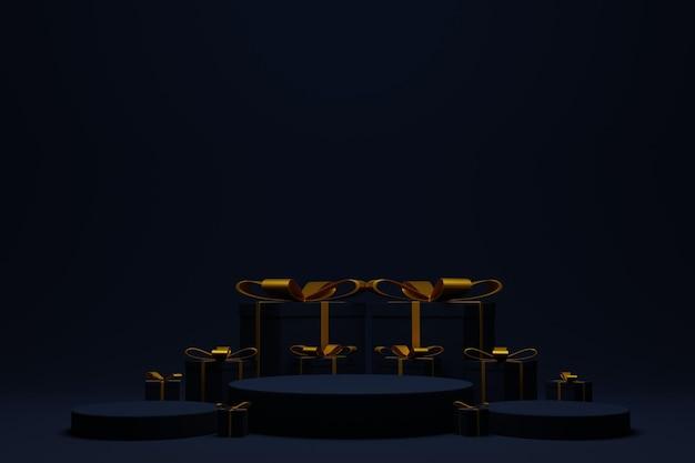 Elegante scena del podio in 3d per lo sfondo di natale