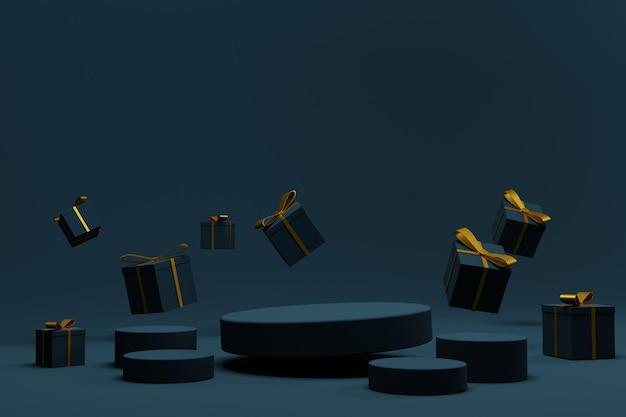 Elegante scena del podio di rendering 3d per lo sfondo di natale
