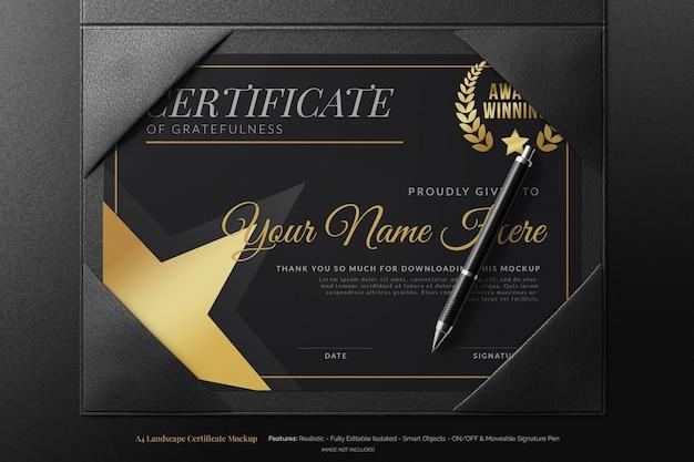 Elegante certificato accademico moderno paesaggio a4 con custodia in pelle mockup realistico realistic