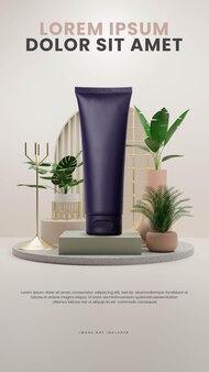 Interni astratti eleganti con modello di pianta tropicale