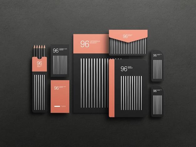 Elegante mockup set stazionario nero