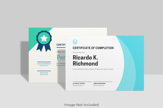 Design elegante mockup certificato