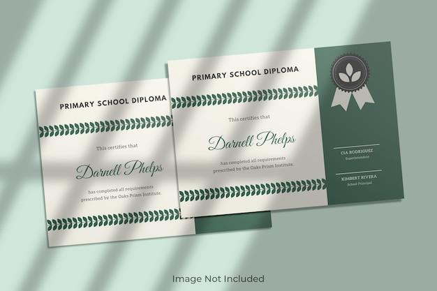 Elegante mockup di certificato con ombra