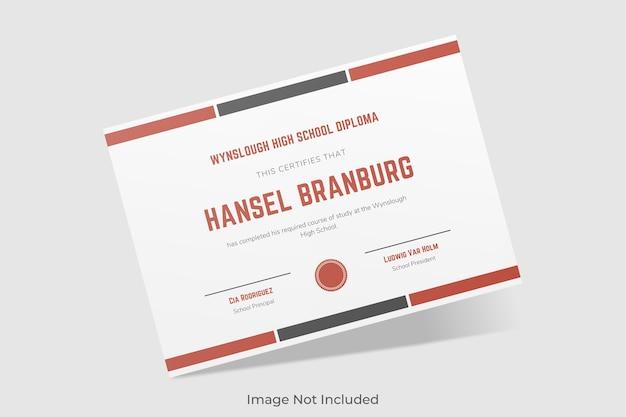 Elegante mockup di certificato