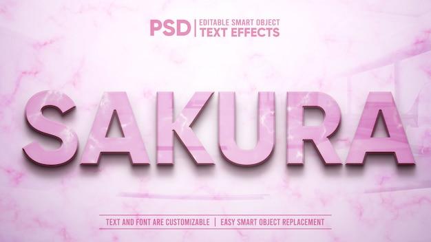 Mockup di effetto testo modificabile riflesso 3d in rilievo di marmo rosa elegante fiore in rilievo