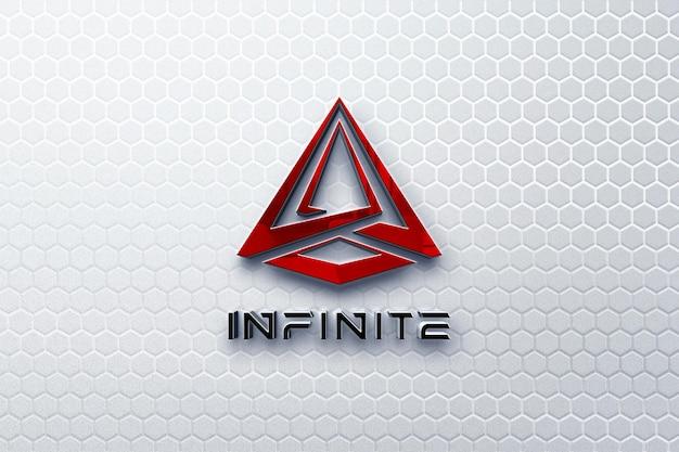 Elegante e futuristico logo 3d mockup