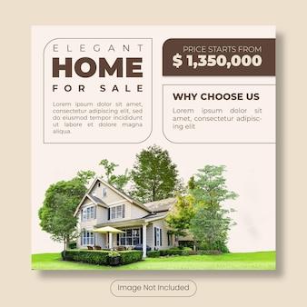Elegante casa in vendita banner modello post instagram