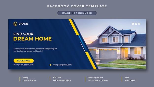 Elegante casa vendita immobiliare promozionale copertina facebook e modello banner web