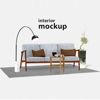 Elegante rendering 3d mockup interni