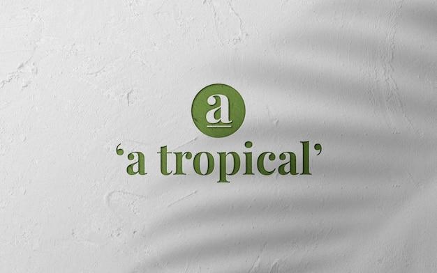 Mockup logo elegante 3d sulla parete di superficie