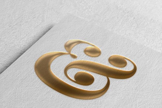 Elegante logo mockup su carta ruvida
