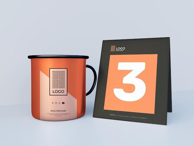 Elegante tazza con rendering 3d di mockup di carta