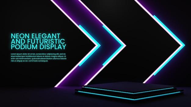 Elegante esposizione del prodotto di illuminazione colorata del podio al neon
