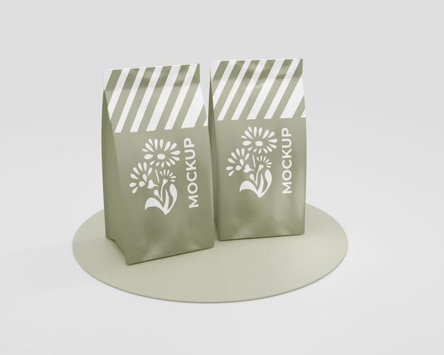 Elegante mockup di sacchetti di caffè in carta