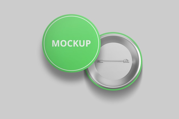 Elegante mockup di badge pin o pulsante per la merce
